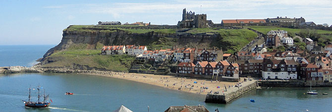 Panoramic view of Whitby East Cliff, 199 steps Whitby Abbey and Harbour