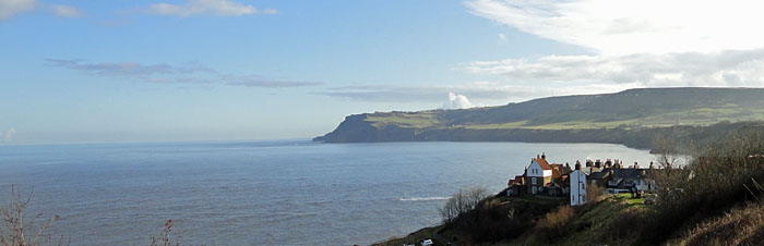 Panoramic view of Robin Hoods Bay North Yorkshire coast