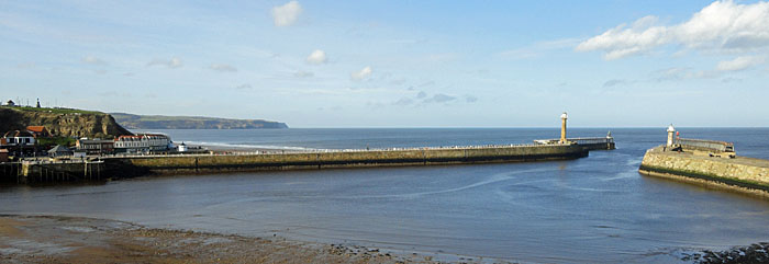 View Whitby harbour mouth from The Old Smokehouse Cottages - Self catering accommodation in Whitby North Yorkshire