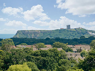 View of Scarborough Castle from Barmoor Farm Holiday Cottages in Scalby North Yorkshire