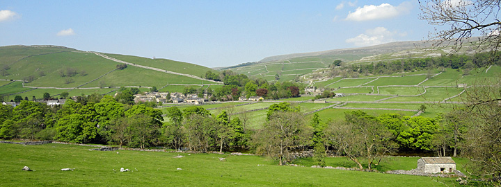 Panoramic photo of Kettlewell village in the Yorkshire Dales
