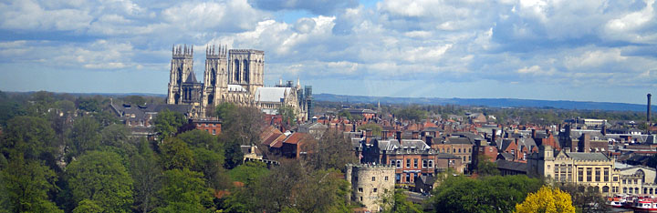 Aerial view of York Minster from The Wheel of York