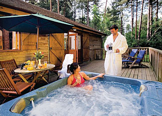 Outdoor hot tub at Keepers Lodge ( Ref LP1732 ) Holiday Lodge at Griffon Forest Flaxton near York