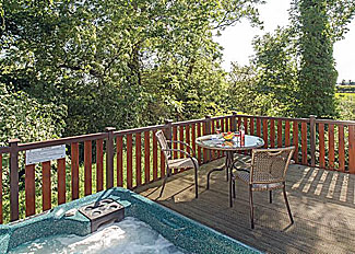 Decking area at Lindale Pine Lodge at Lindale Park Holiday Lodge near Bedale North Yorkshire