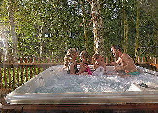 Outdoor hot tub at Cropton Holiday Lodges - Self Catering Accommodation near Pickering North Yorks