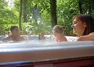 Outdoor hot tub at Keldy Forest Lodges Cropton Pickering North Yorks