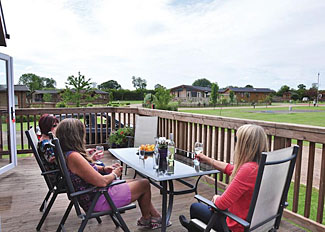 Decking area at York Luxury Lodge ( Ref LP4567 ) Holiday Lodge at York House Country Park Thirsk