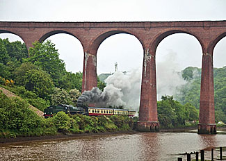Steam train at Larpool on the North York Moors Railway near Whitby