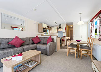 Living area of typical Weir Deluxe Caravan ( Ref LP4518 ) at Holiday Park near Stamford Bridge York - Weir Holiday Park