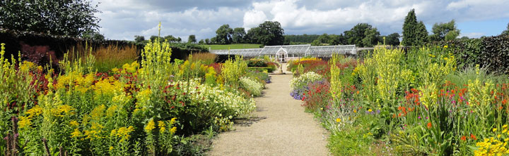 Colourful flower borders at Helmsley Walled Garden