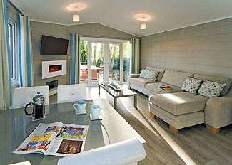 Living area in Limestone Lodge - Self Catering Holiday Lodge at Jamies Cragg Park near Malton
