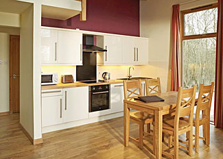 Kitchen / dining area of typical Silver Birch Lodge ( Ref LP3122 ) at Keldy Holiday Lodges near Pickering