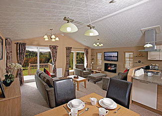 Photo of interior of typical Boston Lodge ( Ref LP7404 ) Holiday lodge at Flamingoland Resort North Yorkshire