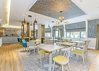 Interior of Falls End bar and restaurant at holiday park in Aysgarth North Yorkshire