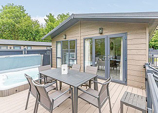 Typical Contemporary 4 Lodge ( Ref LP16624 ) Holiday Lodge with outdoor hot tub at Aysgarth Lodges North Yorkshire