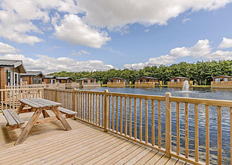 Alder 3 Waterside VIP Holiday Home decking area ( Ref LP16558 ) Holiday Home at Woodland Lakes Thirsk